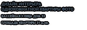 ДИЗАЙН ИНТЕРЬЕРА ОДНОКОМНАТНОЙ КВАРТИРЫ ФОТО БАССЕЙНАЯ УЛИЦА ДОМ 53 ПЛОЩАДЬ КВАРТИРЫ 31 м.кв.