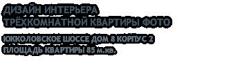 ДИЗАЙН ИНТЕРЬЕРА ТРЁХКОМНАТНОЙ КВАРТИРЫ ФОТО ЮККОЛОВСКОЕ ШОССЕ ДОМ 8 КОРПУС 2 ПЛОЩАДЬ КВАРТИРЫ 85 м.кв.