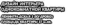 ДИЗАЙН ИНТЕРЬЕРА ОДНОКОМНАТНОЙ КВАРТИРЫ ЛЕНИНГРАДСКАЯ 3 (КУДРОВО) ПЛОЩАДЬ КВАРТИРЫ 37 м.кв.