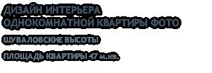 ДИЗАЙН ИНТЕРЬЕРА ОДНОКОМНАТНОЙ КВАРТИРЫ ФОТО ШУВАЛОВСКИЕ ВЫСОТЫ ПЛОЩАДЬ КВАРТИРЫ 47 м.кв.