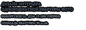 ДИЗАЙН ИНТЕРЬЕРА ОДНОКОМНАТНОЙ КВАРТИРЫ ФОТО ВЫБОРГСКОЕ Ш. ДОМ 15 (ЖК ОЗЕРКИ) ПЛОЩАДЬ КВАРТИРЫ 50 м.кв.