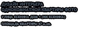 ДИЗАЙН ИНТЕРЬЕРА ОДНОКОМНАТНОЙ КВАРТИРЫ ФОТО УЛИЦА ЕСЕНИНА ДОМ 1 (ЖК ЕСЕНИНА) ПЛОЩАДЬ КВАРТИРЫ 47 м.кв.