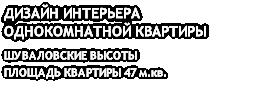 ДИЗАЙН ИНТЕРЬЕРА ОДНОКОМНАТНОЙ КВАРТИРЫ ШУВАЛОВСКИЕ ВЫСОТЫ ПЛОЩАДЬ КВАРТИРЫ 47 м.кв.