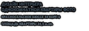 ДИЗАЙН ИНТЕРЬЕРА ОДНОКОМНАТНОЙ КВАРТИРЫ ФОТО КРАСНОСЕЛЬСКОЕ ШОССЕ 54 КОРП 6 ПЛОЩАДЬ КВАРТИРЫ 34,5 м.кв.